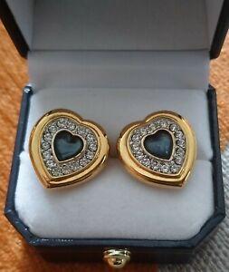COSTUME JEWELLERY HEART SHAPE BLUE ENAMEL YELLOW METAL & DIAMANTE STUD EAR RINGS