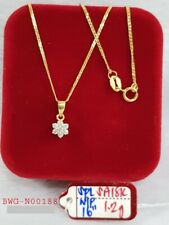 "18K Real Gold Crystal Flower Pendant 16"" Necklace"