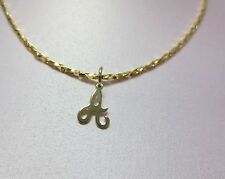 16 INCH 14KT GOLD EP 2mm SPARKLING TWISTED COBRA COMFORT CHAIN w/ YOUR INITIAL