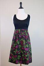 ANTHROPOLOGIE Moulinette Soeurs Dinner for Two Black Floral Dress, Size 0