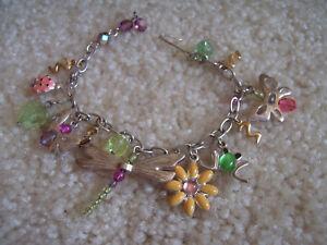 Silver Link Charm Bracelet Dragonfly Frog Butterflies Enamel Crystals