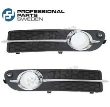 For Volvo S80 V70 Pair Set of Front Fog Light Trims Black With Chrome Mouldings