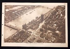 Vintage 1930s Poster Chart School Print AERIAL VIEW, HOUSES OF PARLIAMENT - 129
