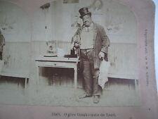 1897 BLACK AMERICANA FAT BLACK MAN HOLDING POSSUM AND TURKEY STEREOVIEW