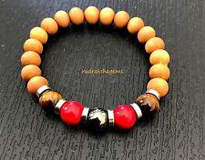 Root Base Chakra Bracelet Sandalwood Hematite Tiger Eye RedCoral Yoga Stability