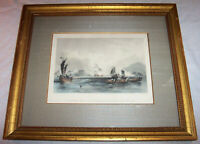 1840's Antique CHINA Engraving British Ships & Forts at Humen  Guangdong Chinese