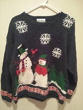 Vintage Ugly Christmas Sweater Tacky - Large L Blue Hand Knitted Snowmen & Flake