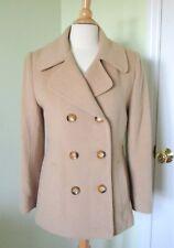 efe57e5e3e96 KATHERINE KELLY Size 4 Classic 100% CAMEL HAIR Double Breasted COAT Pockets  Tan