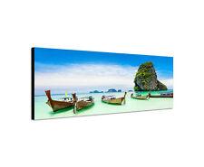 150x50cm Wandbild Leinwand Panorama Longtail Boote Thailand Strand Sinus Art