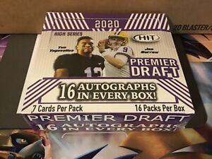 2020 SAGE HIT PREMIER DRAFT HIGH SERIES FOOTBALL HOBBY BOX 16 AUTOGRAPHS PER BOX