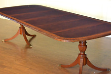 Leighton Hall Traditional Crotch Mahogany Double Pedestal Dining Table 10 ft.