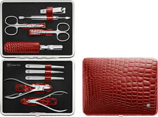 Zwilling Frame Case 10 Parts in Croco Red Manicure Set Nail Care Case