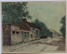 """DESSIN AQUARELLE """"LA MAISON DE MILLET"""" 1875 signé P.CARRIER"""