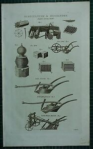 1786 PRINT ~ AGRICULTURE & HUSBANDRY FALLOW CLEANSING MACHINE BEE HIVE PLOUGH