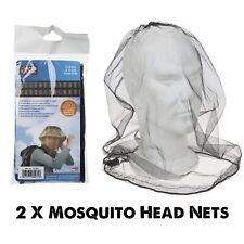2 x Hat Bug Mosquito del Mosquito Insecto Malla Net Head Cara Protector De Viaje Camping UK