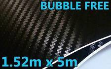 3D CARBON FIBRE VINYL ROLL FULL CAR WRAP 1.52M X 5M BUBBLE FREE BLACK