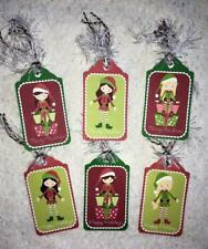 Set of 6 Hang Tags~Elves~Merry Christmas Girls~Gift Tags~Scrapbooks~Card' ;s~#96T