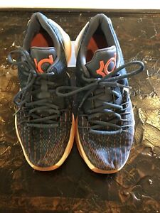 Nike KD Boy's Basketball Shoes Navy with Orange & White SZ 7Y
