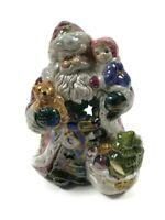 """Santa Claus Christmas Tree Holding Baby & Bear Ceramic Figurine 6.5"""" Tall"""