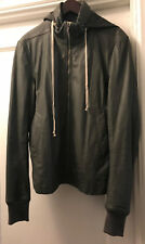 RICK OWENS MENS FRONT ZIP CALF LEATHER 'HIDDEN HOODED' JACKET. 52IT/42US. PETROL