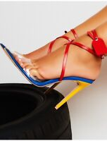 Womens Mixed Colours Pointed Toe Cross Strapy Stilettos High Slim Heels Sandals