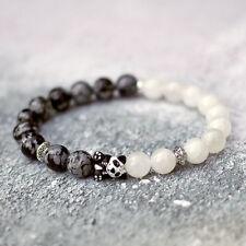 Panda Bracelet Stretch Fit Natural White Snow Jade Obsidian Stone Beads