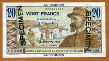 SPECIMEN, Reunion, 20 Francs, ND (1947), Pick 43, UNC