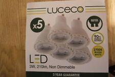 LUCECO GU10 LED 3W 2 BOXES OF 5 WARM WHITE LAMPS / BULBS - 2700K TRUEFIT