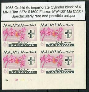 SARAWAK 1965 ORCHID 6c IMPERF CYLINDER BLOCK OF 4 TAN 227c $1600 MNH