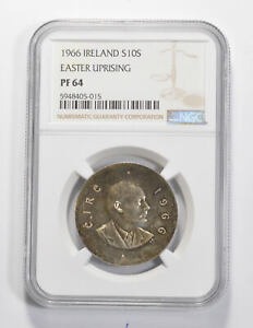 Better - PF64 1966 Ireland 10 Scilling Silver - Easter Rising - Graded NGC *148