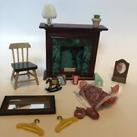 WOODEN MINIATURE DOLL HOUSE  FURNITURE LOT Unbranded