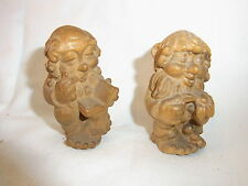 2 Vintage German Carved Wood Gnome #AD