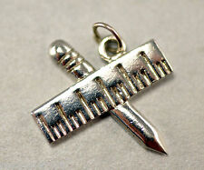 Teachers - Pencil and Ruler - Sterling Silver Charm/ Pendant - Worn One Time