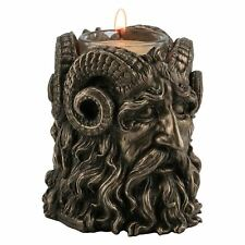 Horned God Tea Light Holder 9cm High Bronzed Effect Candle Holder Wiccan Gothic