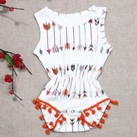 Toddler Infant Baby Girls Tassel Floral Romper Jumpsuit Outfit Clothes 0-24Month