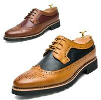 Men Wingtip Oxfords Leather Brogue Pointy Toe Lace Up Shoes Formal Wedding Dress