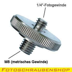 """Gewindeadapter 1/4""""- M8 mit Rändelmutter (Kupplung Metrisch – Zoll)"""