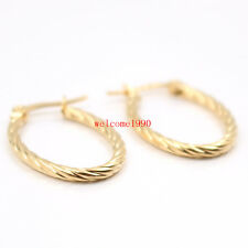 Lot 5pair  Stainless Steel Gold Cable Wire Oval Earring Hook 16*26mm Girls Women