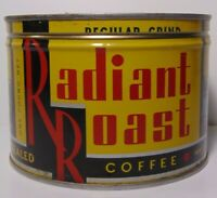 Vtg 1950s RADIANT ROAST GRAPHIC KEYWIND COFFEE TIN ONE POUND ST. PAUL MINNESOTA
