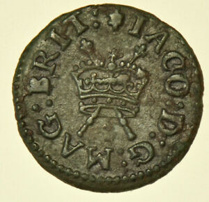 JAMES I LENNOX FARTHING (1614-1625), BRITISH SILVER HAMMERED COIN VF