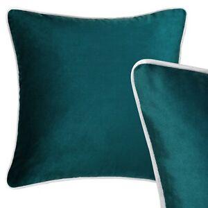 "100% Velvet Cushion Teal Blue Green Grey Piping Sofa Throw Pillow Cover 45cm 18"""