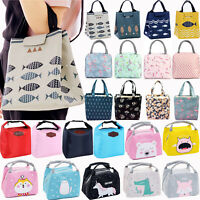 Adult Kid Insulated Lunch Bag Tote Thermal Cooler Picnic Food Lunchbox Handbag