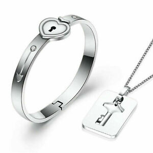 Stainless Steel Love Heart Lock Bracelet with Key Pendant Necklace Couple Set