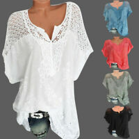 Women Summer Cotton Short Sleeve Hallow Out T-Shirt Casual Tops Blouse Pullover