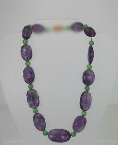 Vintage Carved Amethyst Jade Necklace (3 piece set) 14K