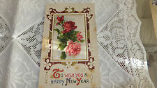 Antique Enbossed Wish you a happy New Year Post Card silk Roses gold Germany