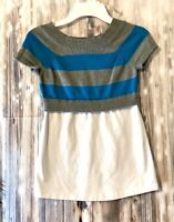 Route 66 Youth Girls SS Teal Gray & White Striped Top Shirt Size L (10/12)