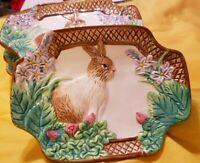 "ROYAL NORFOLK Easter Plates Salad Dessert Dish Rabbit Bunny 6"" x 8"" Lot of 4"