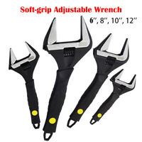 Soft Grip Adjustable Wrench Spanners 165mm 215mm 265mm Extra Wide Jaw Hand Tool