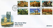 Jersey 2016 FDC WWI Great War Pt III Battles 6v Set Cover Gallipoli Somme Stamps